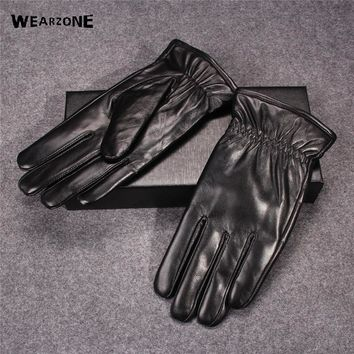 2017 Winter Men Luxury Genuine Leather Thick Gloves Male Solid Driving Sheepskin Glove Free Shipping