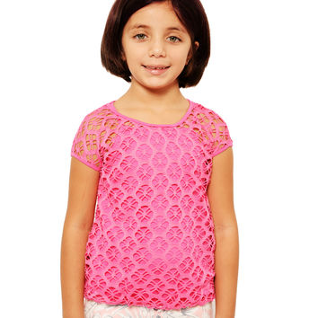 Mini Voiz Girl's  Net Knit Top with Pink Undershirt