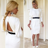 White Sleeve Cutout-Back Dress With Black Belt