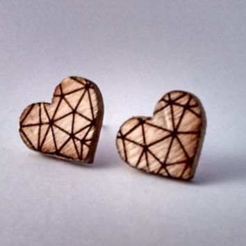 Wooden earrings, Heart shaped earrings, heart earrings, wooden studs, wooden stud earrings, laser cut earrings, geometric earrings