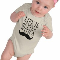 Funny Life is Better With a Moustache Baby Creeper from Zazzle.com