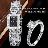 Luxury Rhinestone Bracelet Watches Women Silver Wrist Watch with Ring Ladies Quartz Clock Hour saat relogio feminino reloj mujer