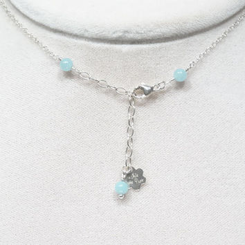 Natural Raw Emerald Necklace with Amazonite on Sterling Silver chain, green