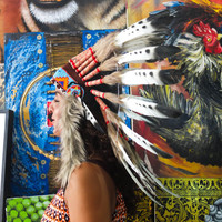 Real White/ Black Spots Chief Indian Headdress 65cm, Native American Costume Hand Made Feathers War Bonnet Hat