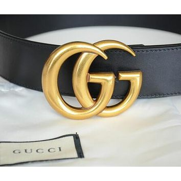 GUCCI Classic Stylish Women Men Delicate Metal Smooth Buckle Leather Belt +Gift Box I