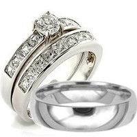 3 Pieces His & Hers, Men's and Women's Stainless Steel Engagement Wedding Band Ring Set (Size Men's 12 Women's 7)