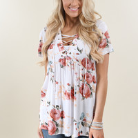 Favorite Lace Up Top ~ Floral Ivory
