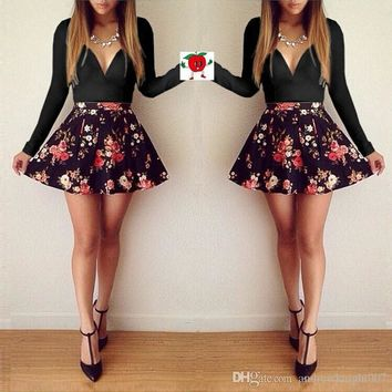 drop ship elegant antumn winter New women 's girls wear long sleeve v-neck floral print bodycon casual pleated dresses party sexy dress