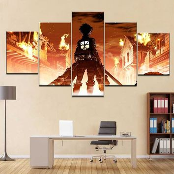 Cool Attack on Titan  anime Poster Framed Gallery wrap art print home wall decor wall picture Already to hang digital print AT_90_11