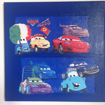 Disney Cars Canvas Painting by litsakiv on Etsy