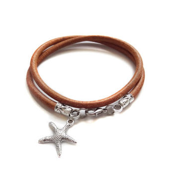 Navy bracelet/Nautical bracelet/Leather Bracelet/Leather jewelry/starfish charm/mens bracelet/unisex bracelet/Wrap bracelet