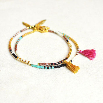 Multicolor Tassel Bracelets with Feather // Gold, Copper, Turquoise Green & Pink // Colorful Cute Boho Frienship Bracelets