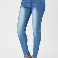 High Waisted Washed Skinny Jeans