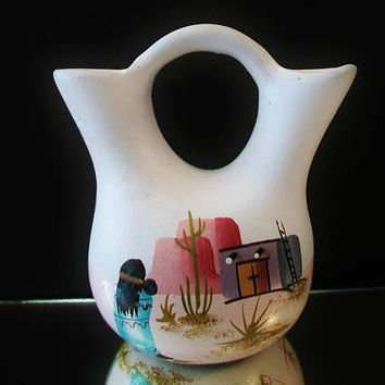 Southwestern Pottery Wedding Vase Native American Pueblo Desert Scene Collectible Folk Art