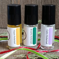 Essential Oil Rollerball Trio Mini Roll On Gift Set Natural Perfume Blends Calm Lavender Hippie Patchouli Breathe Peppermint