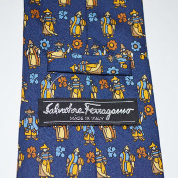 Salvatore Ferragamo Tie, Designer Necktie, Men's Neckwear, Blue Vintage Necktie, Asian Themed Tie, FREE SHIPPING, Christmas Gift, For HIm