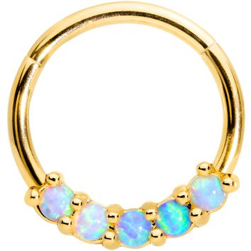 """16 Gauge 3/8"""" Five Synthetic Opal Gold Tone Hinged Segment Ring"""