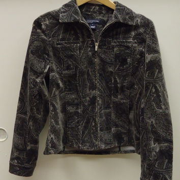 Jones New York Coat Cotton Female Adult S Gray  Paisley  XA945 -- New No Tags