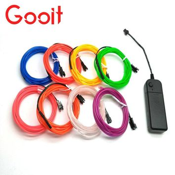 3M Car Flexible EL Wire Neon car Lights Dance Party Decor Lights Flexible Neon lamps EL Wire Rope Tube Led strip with Controller