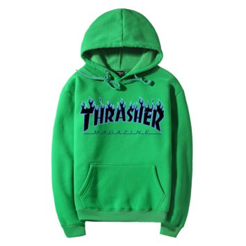 """Thrasher""Fashion Flame skateboard leisure loose hooded sweater Green"