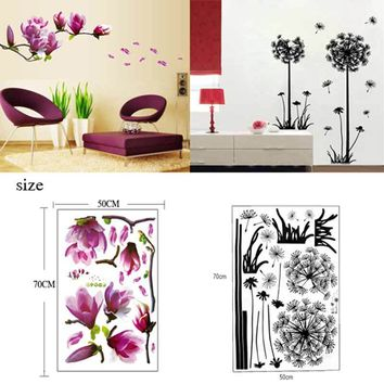 TV Wall Stickers 3D Flying Dandelion Home Decor Magnolia Flower Wall Sticker Wallpaper Bedroom Mural Kids Decals 2 Style Choose