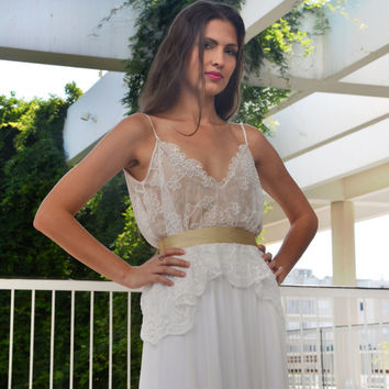 Romantic wedding dress with lace top and golden belt