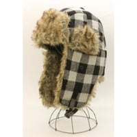 Winter Plaid Trapper Trooper Aviator Ear Flap Fur Wool Russian Ski Hat Snow Hat Black