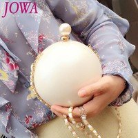 2017 New Design Women's Shoulder Bags Pearl Handbag Wedding Party Clutches Acrylic White Ball Package PU Chain Mini Evening Bag