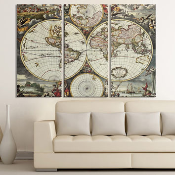 Vintage World Map Canvas Print - For Interior Design, Home and Office Design, Large World Map Wall Art - XX Large Map Canvas Print