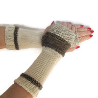 Fingerless Gloves, Knit Gloves, Texting Gloves, Mittens, Brown And White, Taupe, Girls, Womens, Fiber Art