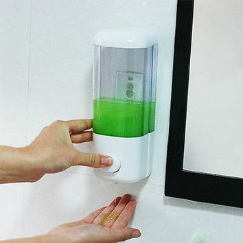 ABS Wall Mounted Single Soap Sanitizer Shower Gel Shampoo Dispenser Container LS