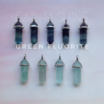 Fluorite crystal point necklace Green to Purple shades