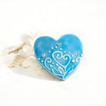 Heart Barrette in Blue, Gift Ideas, Fashion Accessory