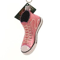 Old World Christmas Pink High-Top Sneaker Glass Ornament