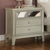 Adeline Contemporary Style Nightstand, Silver Finish