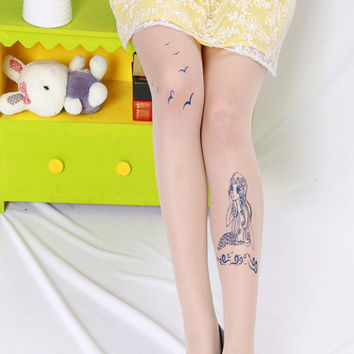 Sexy Women Fashion Japan Angel Animal Mock Knee High Tattoo Tights Pantyhose Pattern Printed Stockings S2