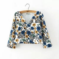 Floral Print V-Neck Long-Sleeve Shirt