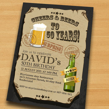 Cheers & Beers Birthday Invitation Beer birthday chalkboard design for man any age 30th 40th 50th 60th 70th 80th invitation - card 417