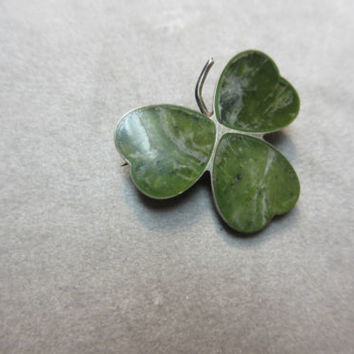 Antique Victorian Sterling Silver Irish Connemara marble shamrock brooch pin CMP