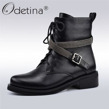 Odetina Winter Autumn New Fashion Lace Up Punk Boots Women Metal Band Buckle Motorcycle Boots Low Heels Zipper Women Ankle Boots