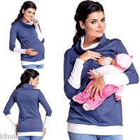 2 in1 Maternity  Nursing breastfeeding warm Hoodie Top Pullover winter autumn top baby protect  women clothes
