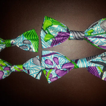 Purple and Green Ankara Bow tie