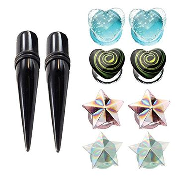 BodyJ4You 10PCS Ear Gauges 00G Glass Star Plugs Stretching Kit Glow in the Dark Heart and Black Taper (10mm)