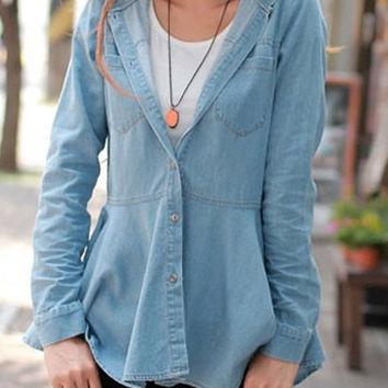Wash Blue Hooded Long Sleeve Rufled Denim Shirt
