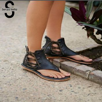 Senza Fretta Summer Women Gladiator Vintage Sandals Lace Up Flip-Flops Strap Flat Heel Shoes Leather Woman Sandalias Mujer