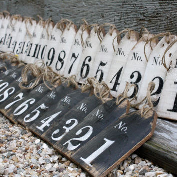 Distressed Rustic Wood Large Wedding Table Numbers Basket Tags Sign