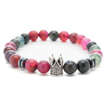 Agate Gemstones Beaded Bracelet for Men and Women