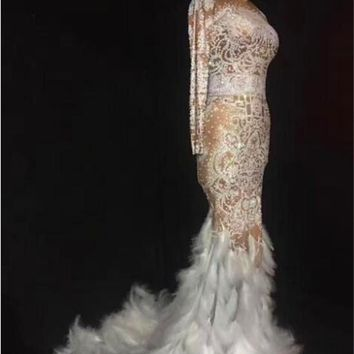 Sparkly Rhinestones Feather Full Stones Long Nude Dress