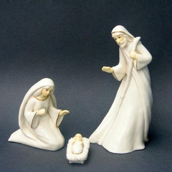 3 Holy Family Figures - Figures Include Joseph, Mary, And Baby Jesus