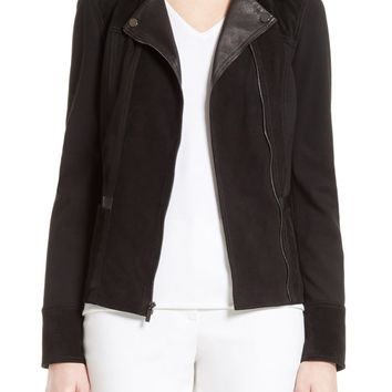 St. John Collection Leather & Ponte Knit Moto Jacket | Nordstrom